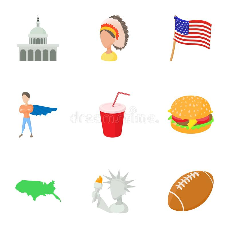 USA country icons set, cartoon style stock illustration