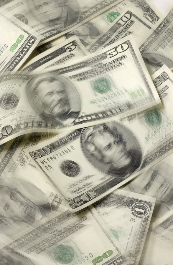USA Currency With Movement royalty free stock images