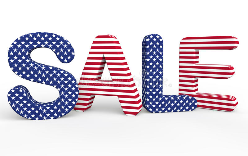 USA 3d sprzedaży o temacie tekst ilustracji
