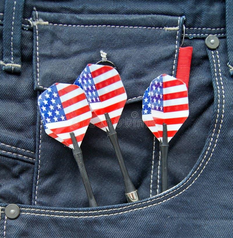 USA Darts In Jeans Pocket Stock Photo