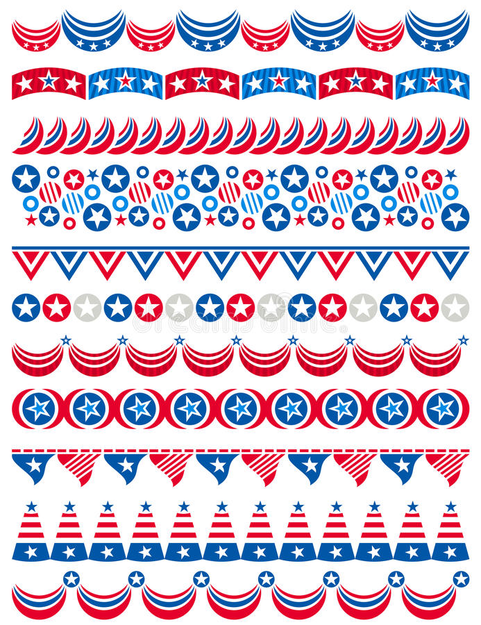 USA Decorative Borders, Ornamental Rules, Dividers Stock Image