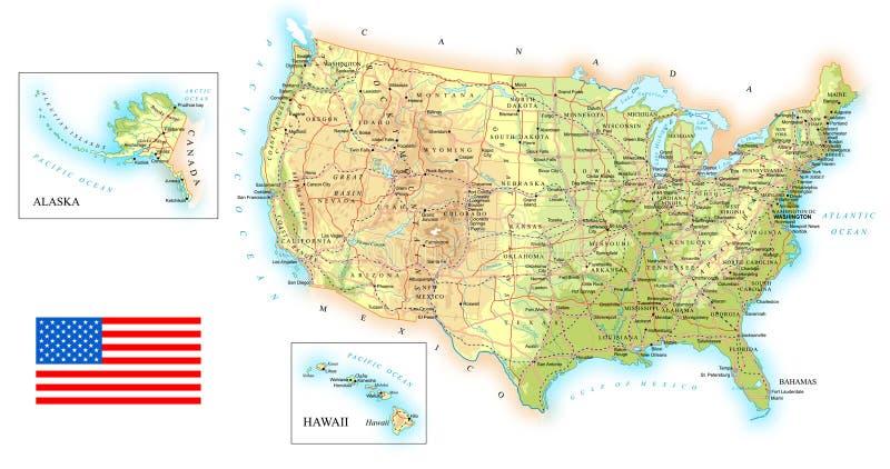 USA - detaljerad topographic översikt - illustration vektor illustrationer