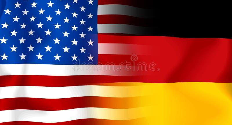 USA-Deutsche Markierungsfahne vektor abbildung