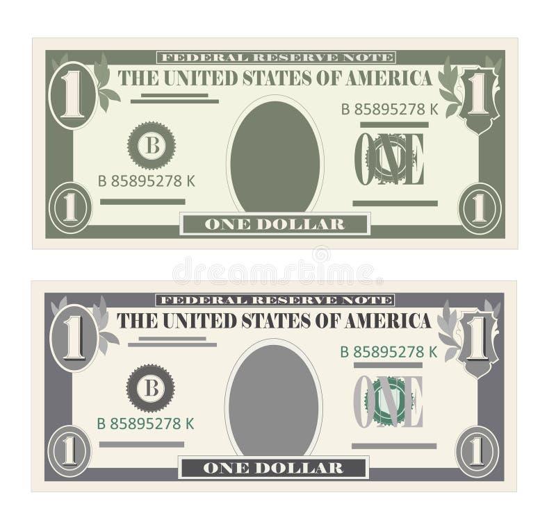 USA, die Währung, Bargeldsymbol 1 Dollarschein ein Bankkonto haben vektor abbildung