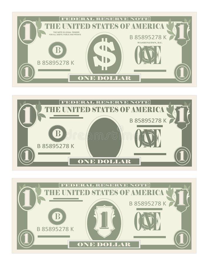 USA, die Währung, Bargeldsymbol 1 Dollarschein ein Bankkonto haben lizenzfreie abbildung