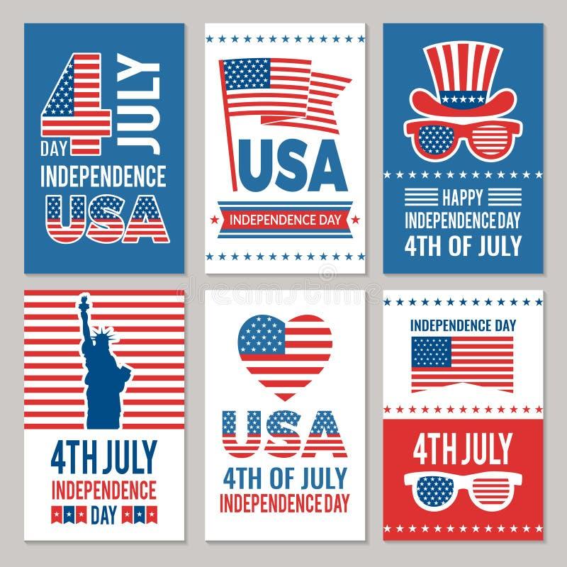 USA dnia niepodległości karty Szablon różnorodne 4 Lipa etykietki Ameryka tożsamość royalty ilustracja