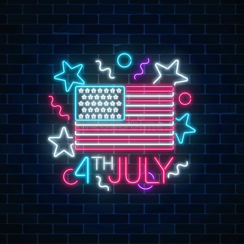 USA dnia niepodległości rozjarzony neonowy znak z usa tekstem i flaga 4th Lipa wakacje sztandar ilustracja wektor