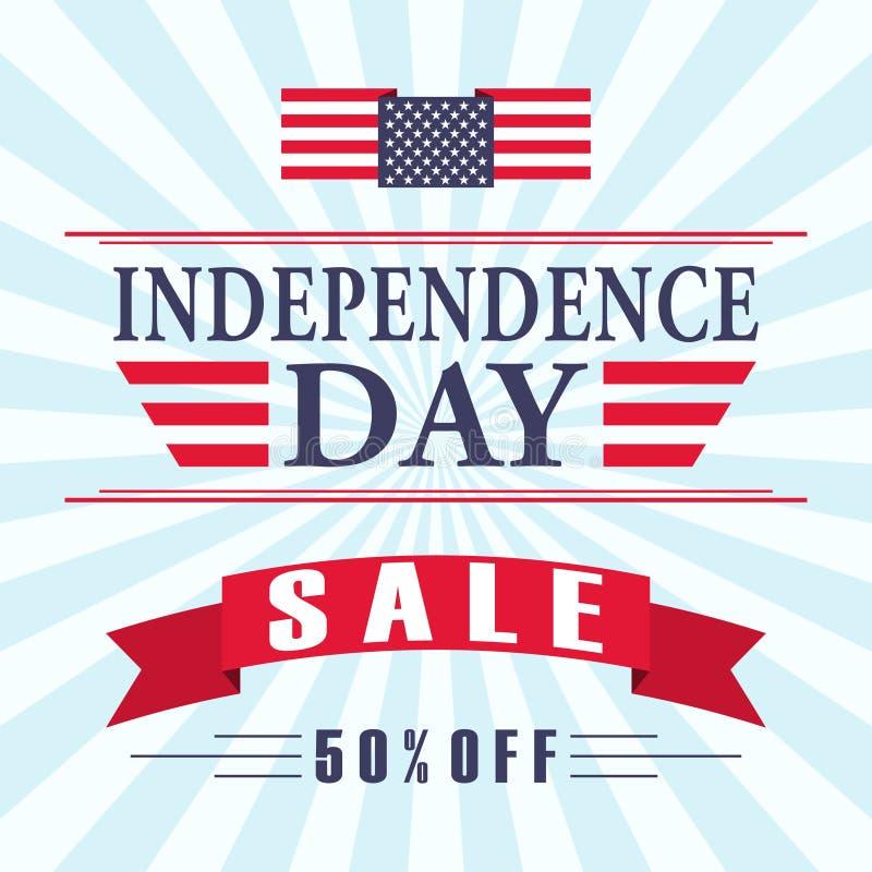 USA dnia niepodległości sprzedaży tło z flaga amerykańską, faborkiem i literowaniem, Wektor EPS 10 royalty ilustracja