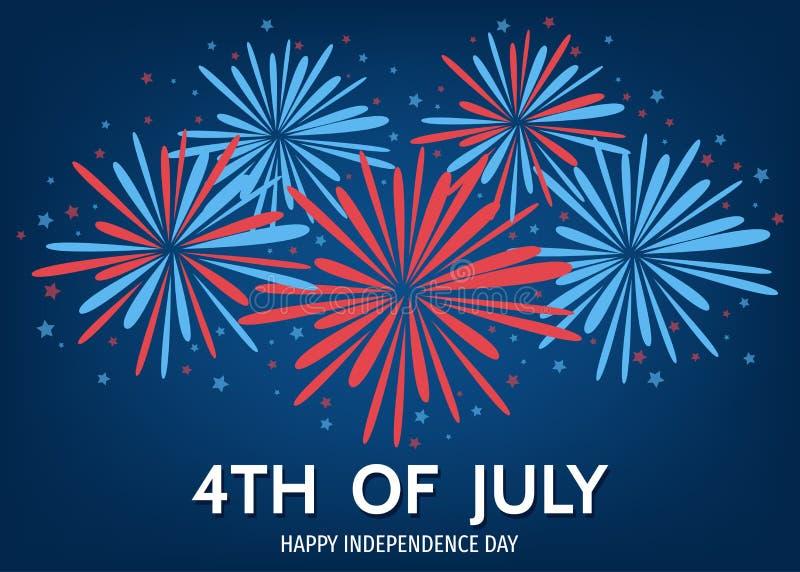 USA dnia niepodległości szczęśliwy tło z fajerwerkami ilustracja wektor