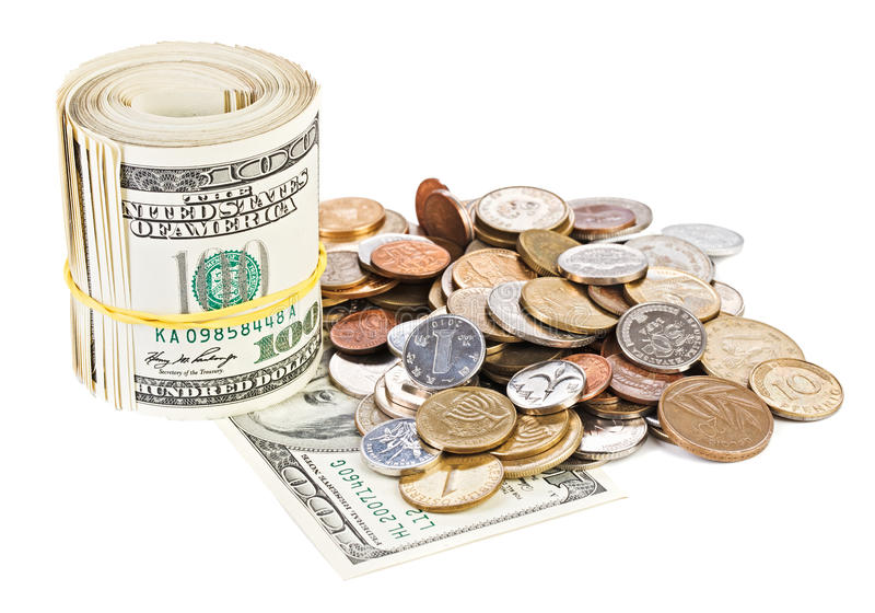 USA dollar currency monetary concept photo. With rolled bank notes and coins royalty free stock photo