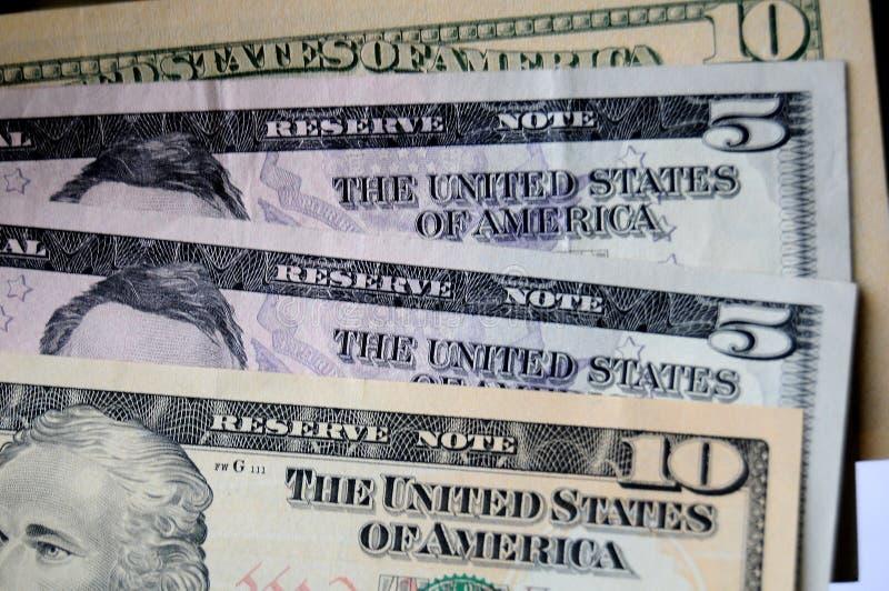 USA DOLLARY RÄKNINGAR arkivbild