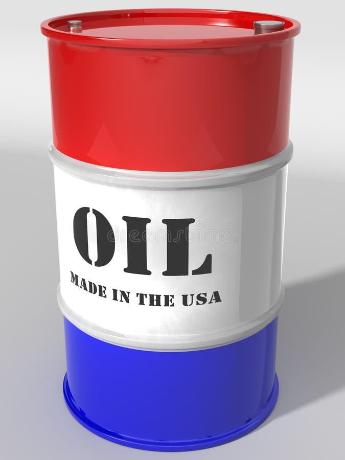 USA Domestic Oil Barrel. USA domestic oil in red white & blue barrel stock photo