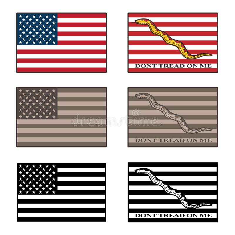 USA and Dont Tread On Me flag isolated vector illustration set in full color, desert camouflage tones, and black vector illustration