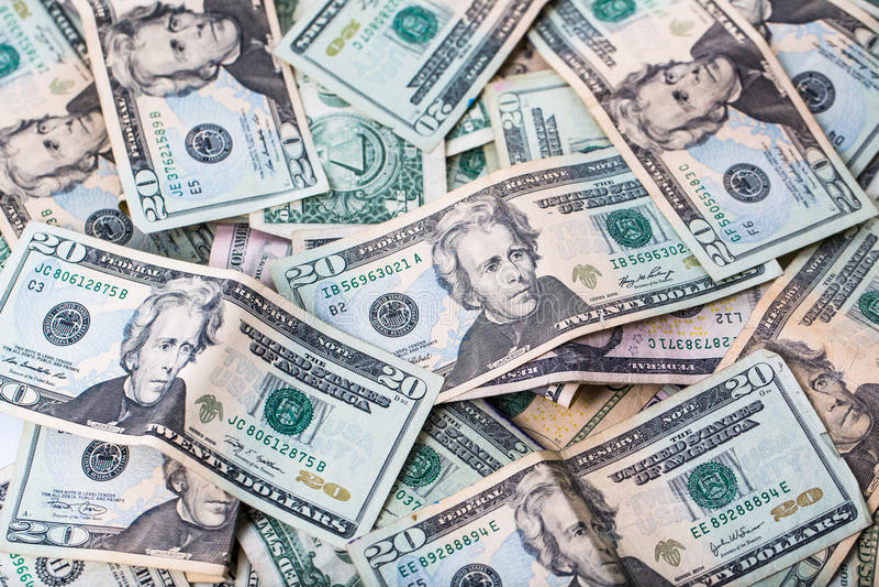 USA Dwadzieścia Dolarowi rachunki obraz stock