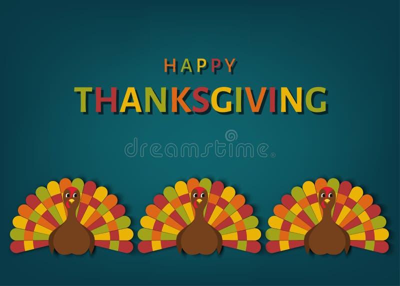 USA dziękczynienia dnia kartka z pozdrowieniami z kolorowym ślicznym indykiem royalty ilustracja