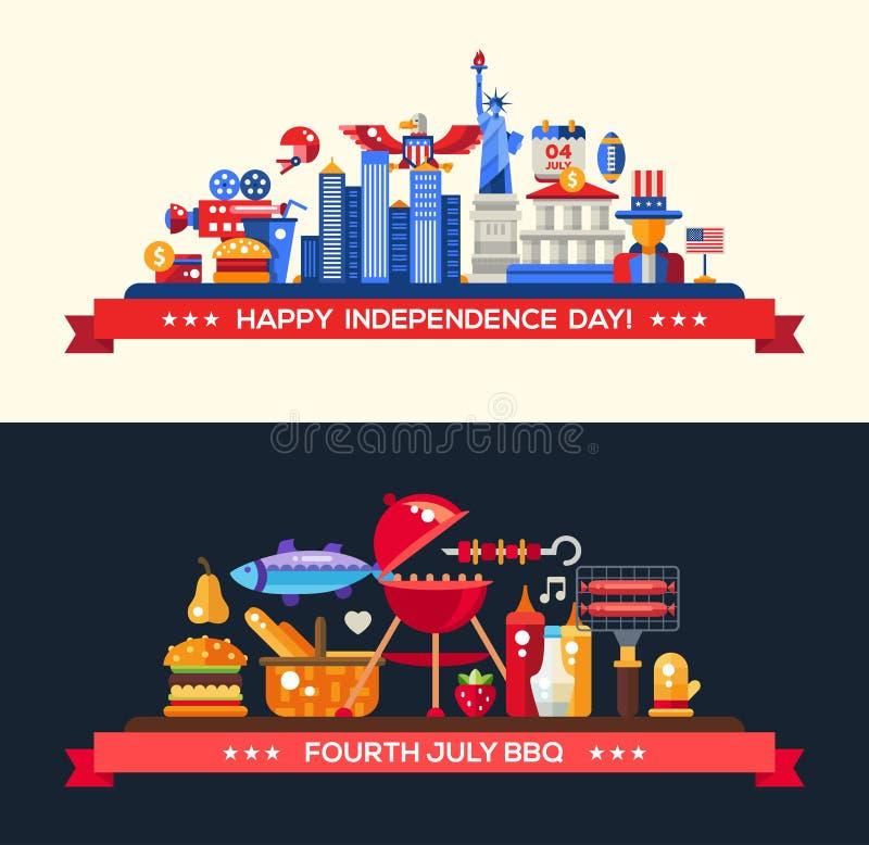 USA dzień niepodległości i BBQ sztandary Ustawiający ilustracja wektor