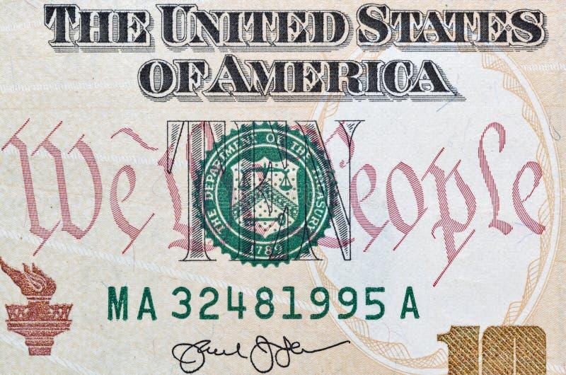 USA dziesięć dolarów rachunku zbliżenia makro- obrazy stock