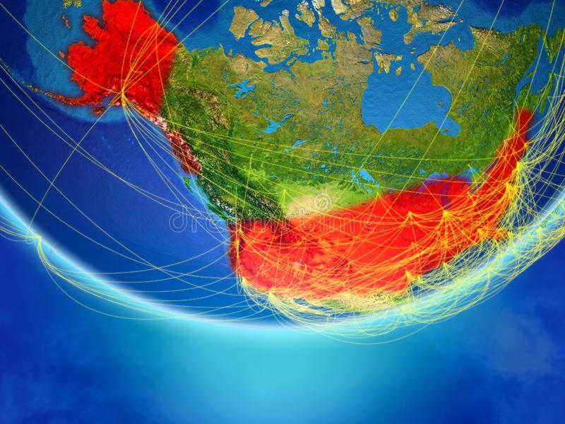 USA on Earth with network. USA on model of planet Earth with network representing travel and communication. 3D illustration. Elements of this image furnished by stock illustration
