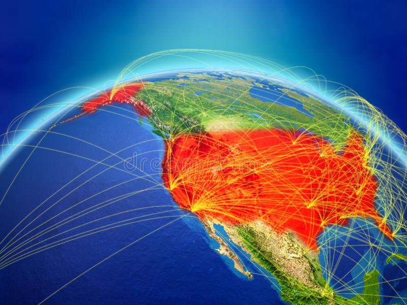 USA on Earth with network. USA on planet Earth with international network representing communication, travel and connections. 3D illustration. Elements of this royalty free illustration