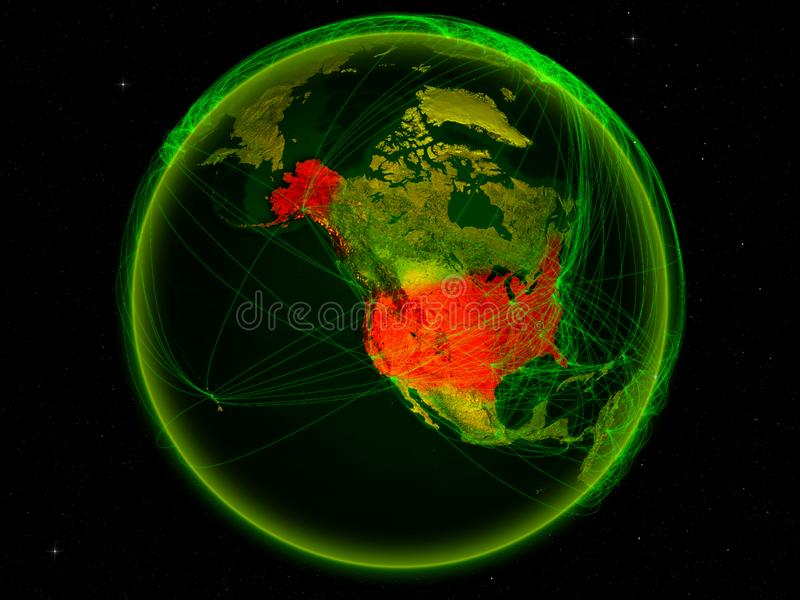 USA on Earth with network. USA from space on planet Earth with digital network representing international communication, technology and travel. 3D illustration stock illustration