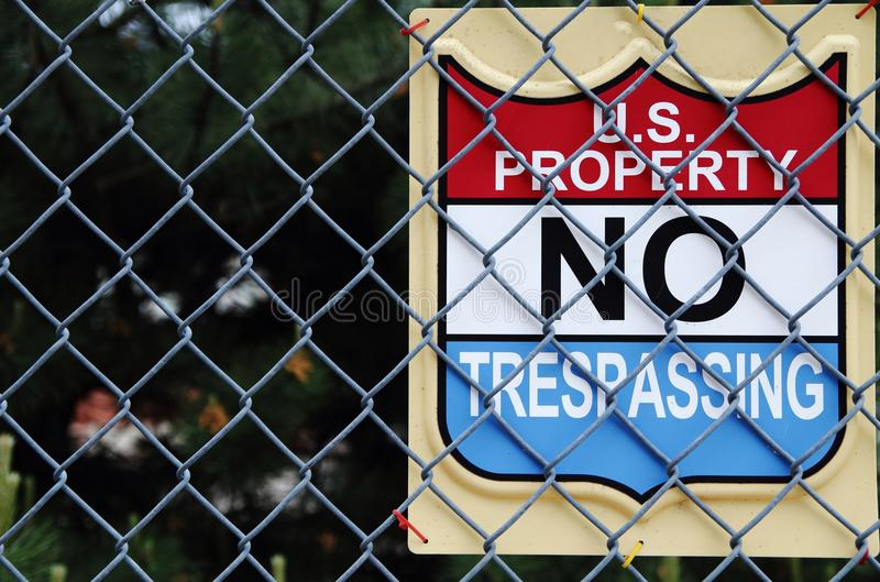 USA-egenskap inget inkräkta arkivfoton
