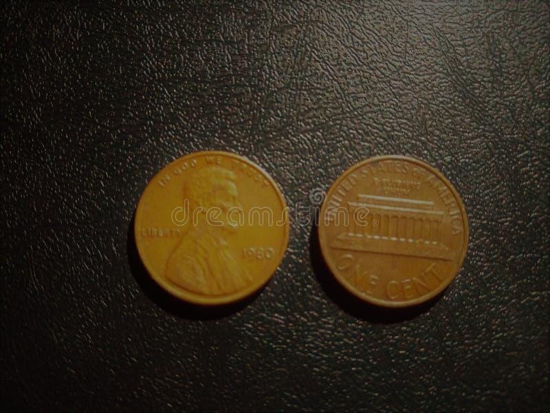 USA eine alte Münzsammlung des Cents stockfotografie