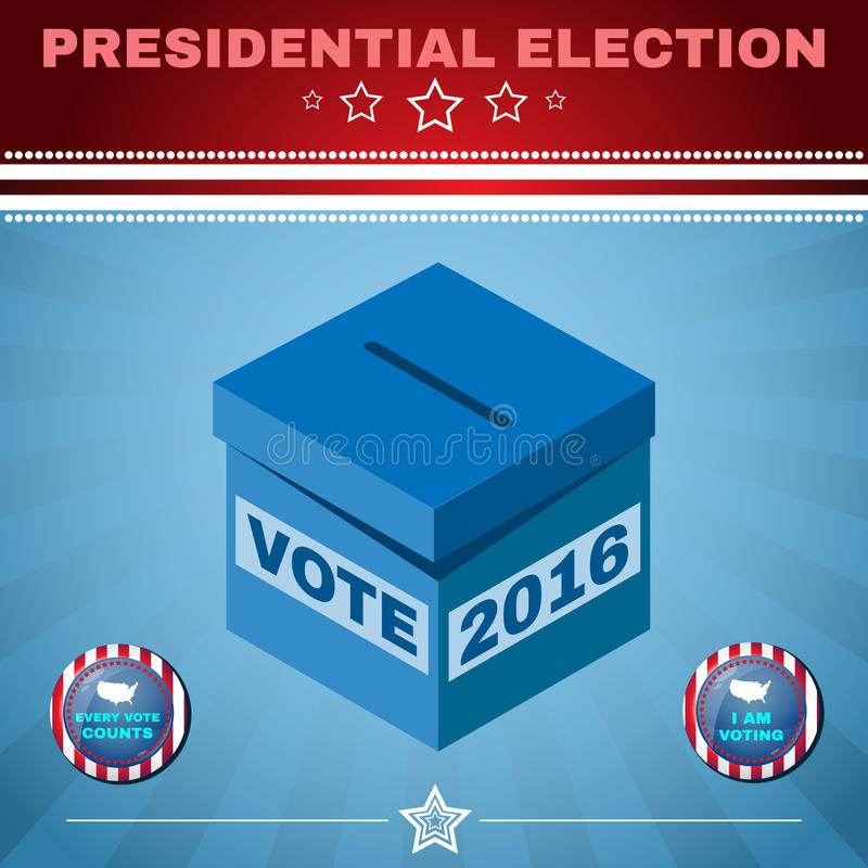 Usa Election 2016 Every Vote Counts. Presidential Election Day 2016 Campaign Ad Flyer. Every Vote Counts. Social Promotion Banner. American Flag's Symbolic stock illustration