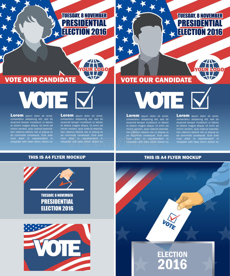 Usa 2016 election a4 flyer mockup with country map vector illustration