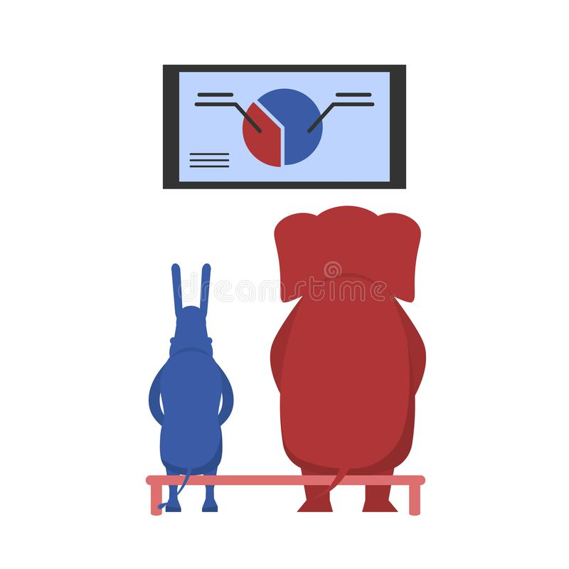 USA election theme. The USA elections result illustration. Democratic donkey and republican elephant contest result