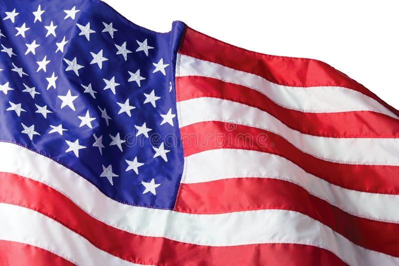 USA eller amerikanska flaggan som isoleras på vit bakgrund arkivbilder