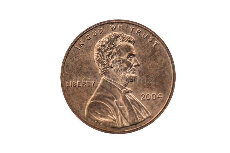 USA ett centencentmyntmynt med en ståendebild av Abraham Lincoln fotografering för bildbyråer
