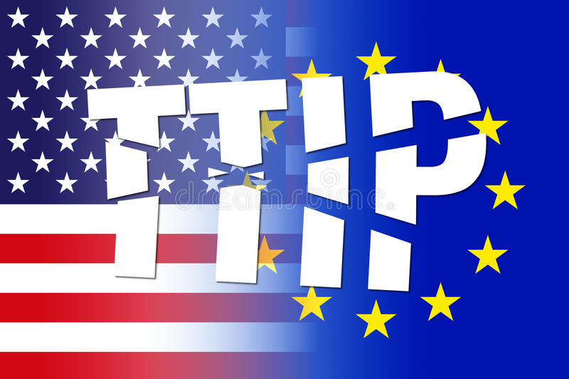 Usa eu flags, ttip broken letters royalty free illustration