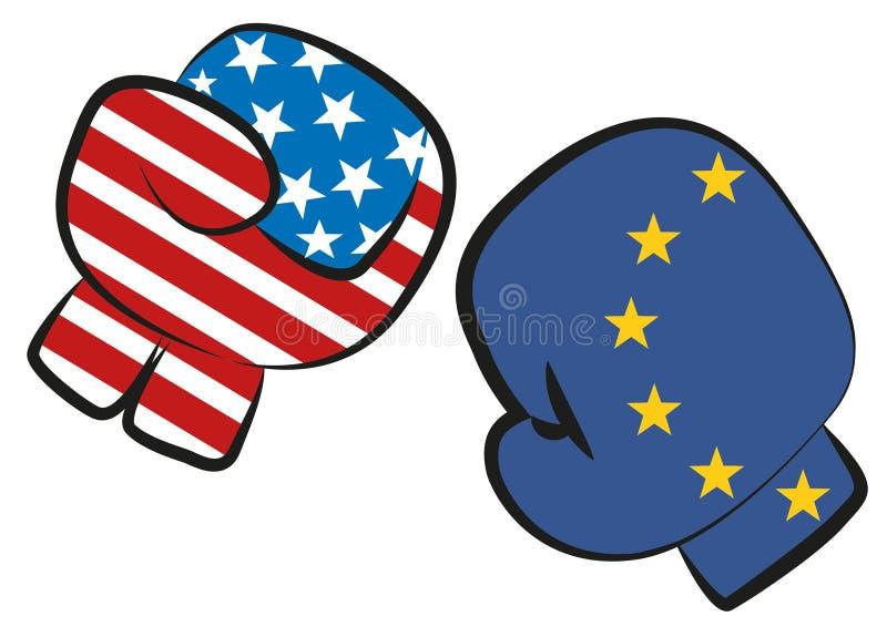 USA Europa wojny handlowa confict ilustrujący bokserskim dopasowaniem z usa i Europa flaga w bokserskich rękawiczkach walczy each royalty ilustracja