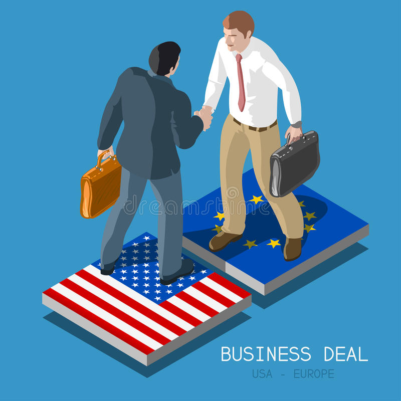 USA Europe Deal People Isometric royalty free illustration