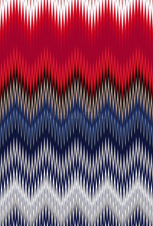 USA för färg för bakgrund för abstrakt konst för modell för sparresicksackvåg flagga stock illustrationer