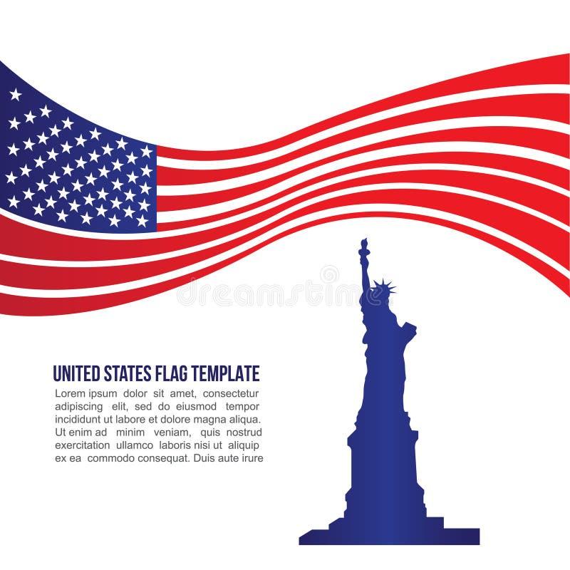 USA (Förenta staterna) flaggavåg och staty av frihet royaltyfri illustrationer