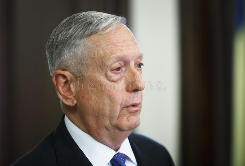 USA-försvarsminister James Norman Mattis royaltyfria foton