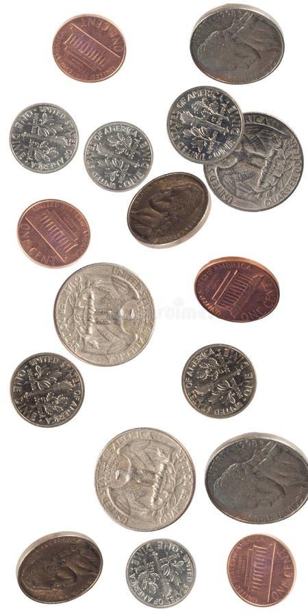 USA-fallende Münzen lizenzfreie stockfotografie