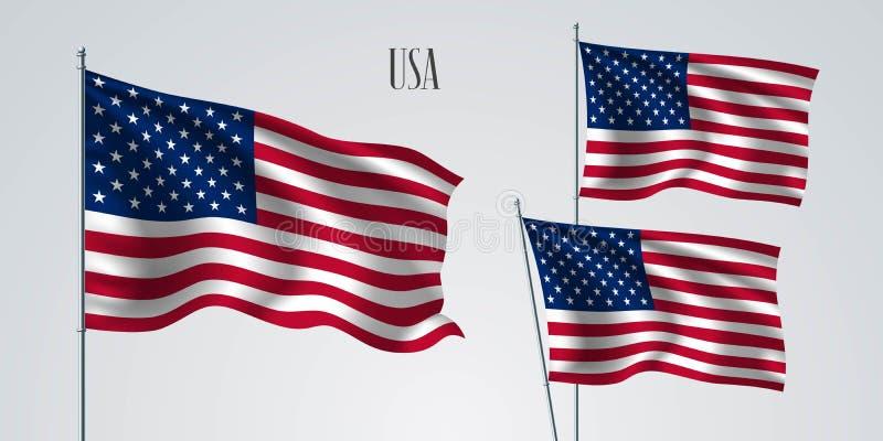 USA falowania flaga set wektorowa ilustracja ilustracji