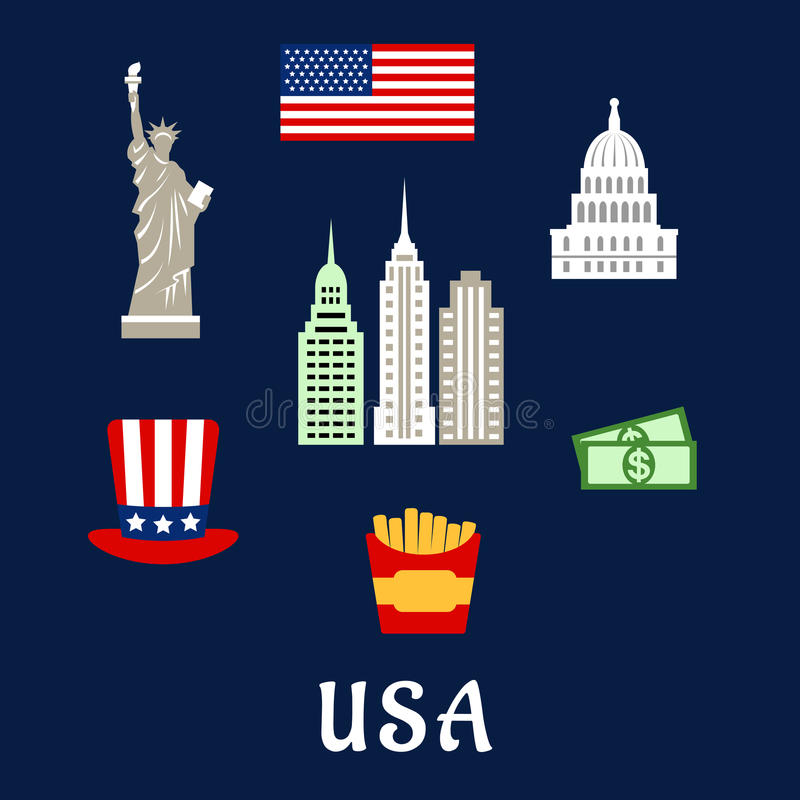 Usa Famous Architecture And Culture Symbols Stock Vector
