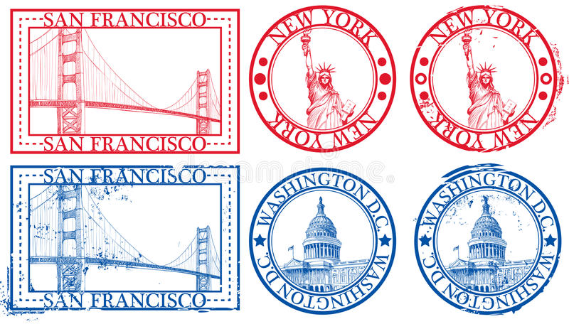 USA famous cities stamps vector illustration