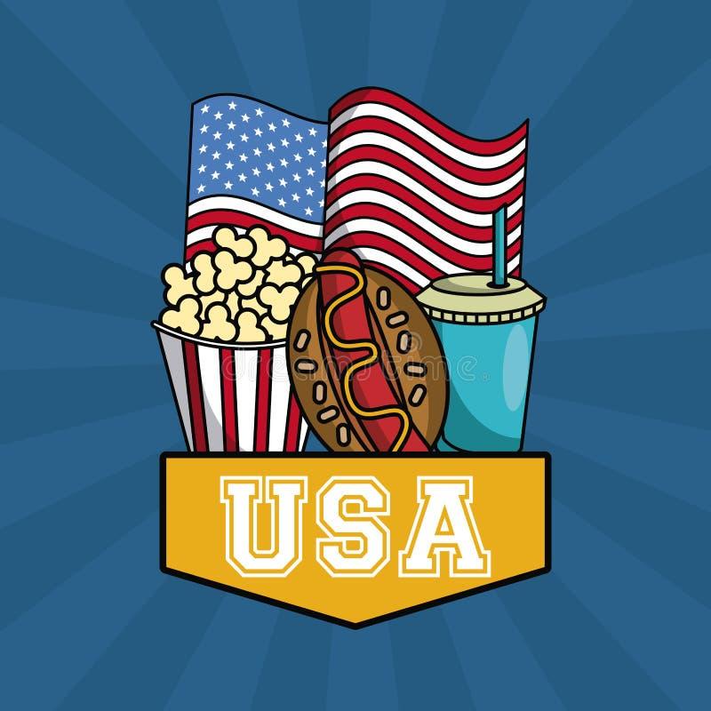 USA fasta food pojęcie ilustracji