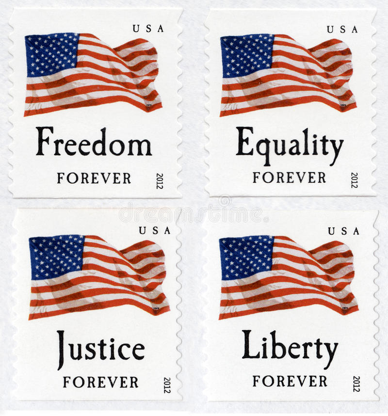 USA First Class Forever Flag Stamps. 2012 United States of America first class Forever stamps. A stamp that will always be honored no matter what the postage royalty free stock photography