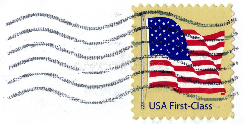 USA First Class Postage Stamp. United States of America First Class stamp featuring the American flag. Stamp was issued in 2007 stock images