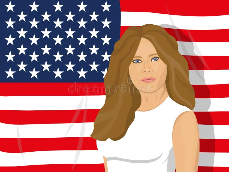 USA first lady. November 10, 2017. Editorial illustration of a portrait of the first lady of the USA Melania Trump on white background - wife of the President