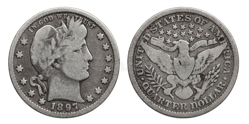 USA-fjärdedeldollaren 25 cent försilvrar myntet 1897 royaltyfria bilder