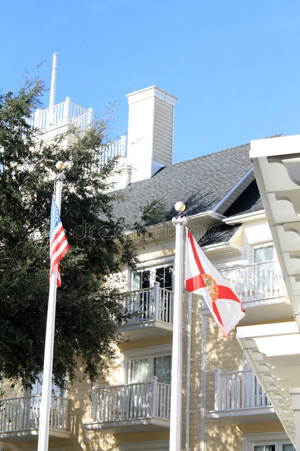 USA and Fla state flags at hotel grounds royalty free stock photos