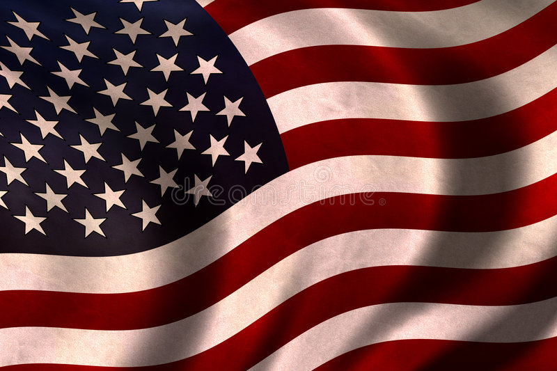USA Flag. Vintage US flag waving in the wind stock image