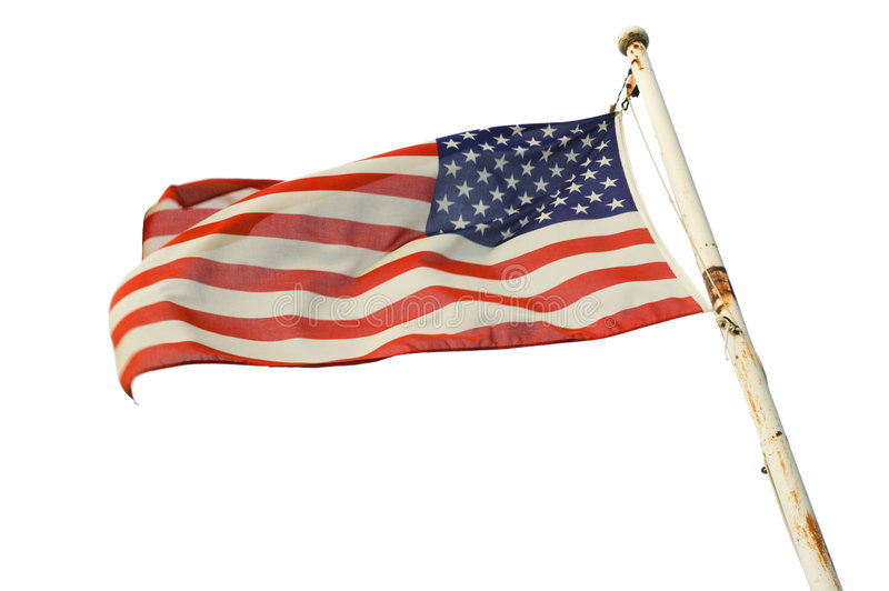 USA flag. On a rust covered pole, isolated on white