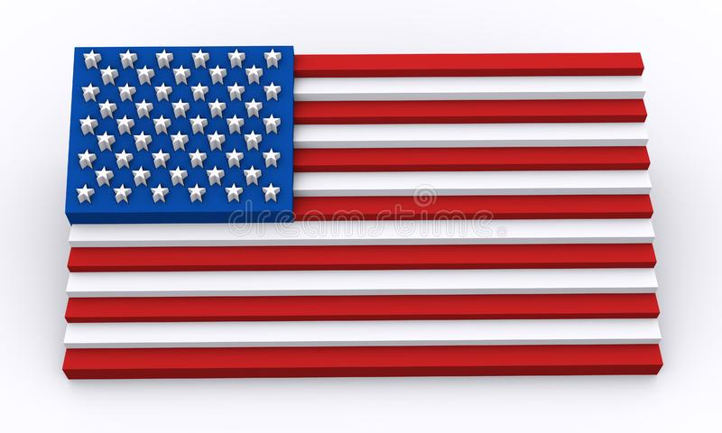 USA flag in 3d shapes